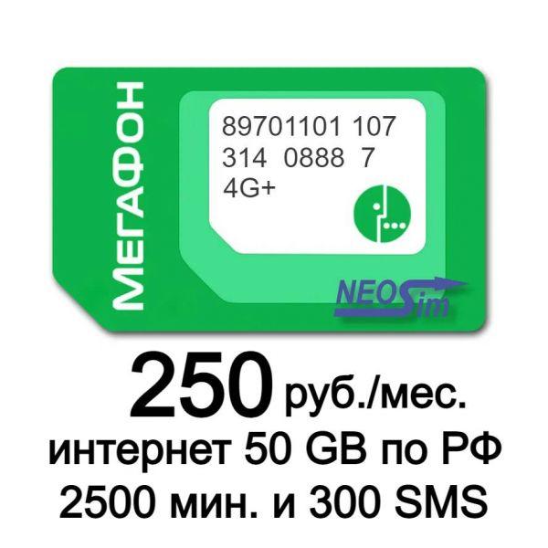 Купить секретный тариф Мегафон Резонанс или Приват за 250 руб./мес. в NeoSim.ru арт. 515